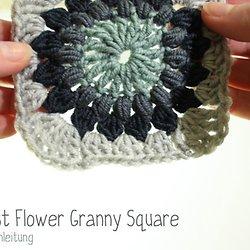 Anleitung Sunburst Flower Granny Square Haekeln Kasa Amend