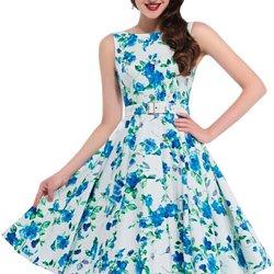3a17a8e7b7 Niebiesko biała sukienka w kwiaty