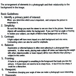 photography assignments for high school students